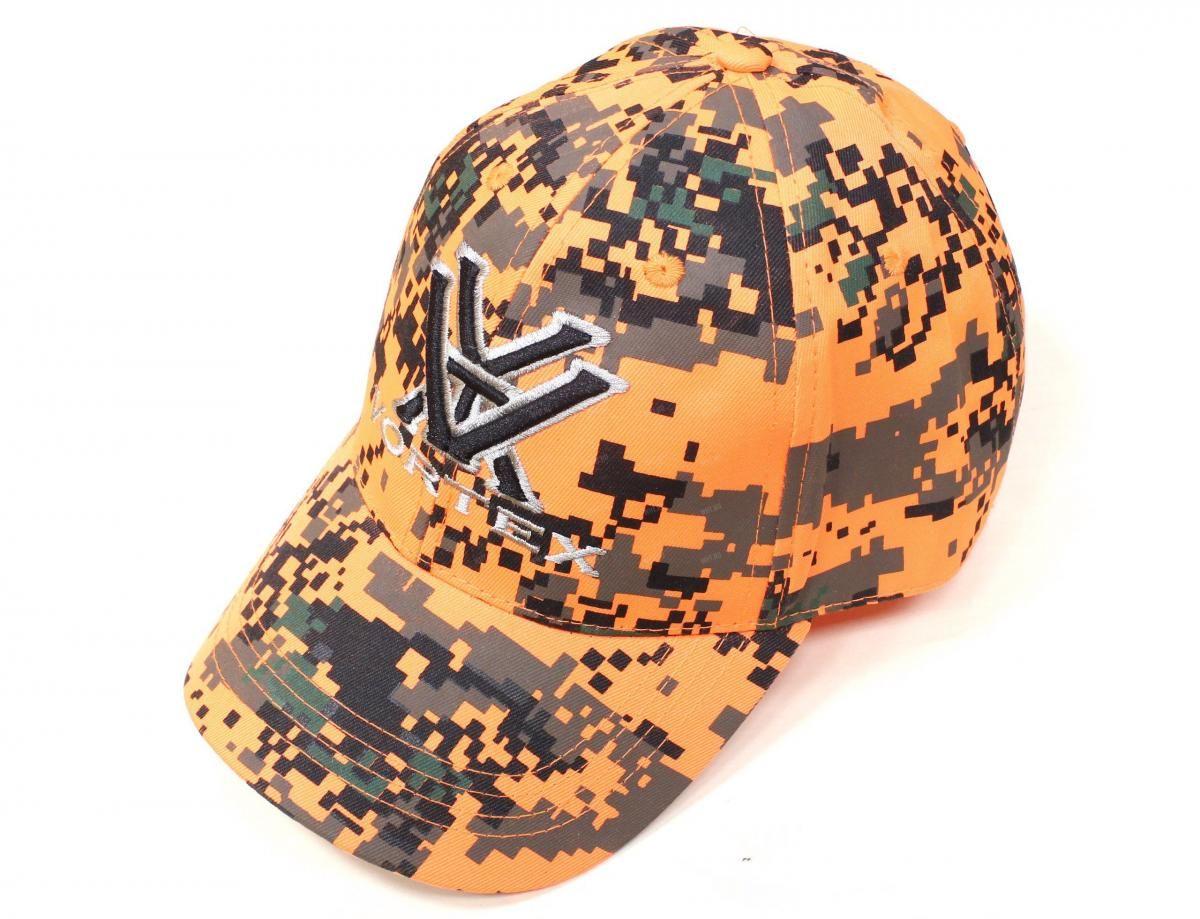 Бейсболка VORTEX, оранжевая с чёрным рисунком Digital